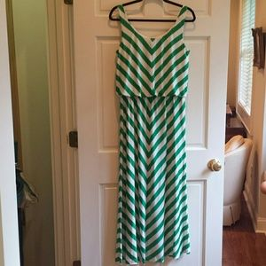 Angie  Dresses & Skirts - Green and white maxi Chevron dress