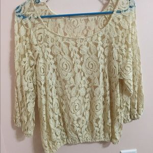 Forever 21 Lace 3/4 Sleeve Top