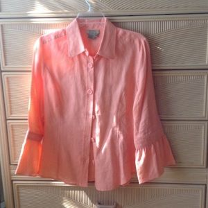 Boutique Essentials 100% Linen Blouse Size M