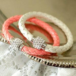 Braided Leather Rhinestone Wrap Bracelets Set