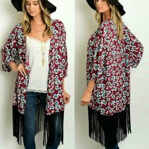 Tops - 🌻 FINAL 🌻 Floral Fringe Kimono