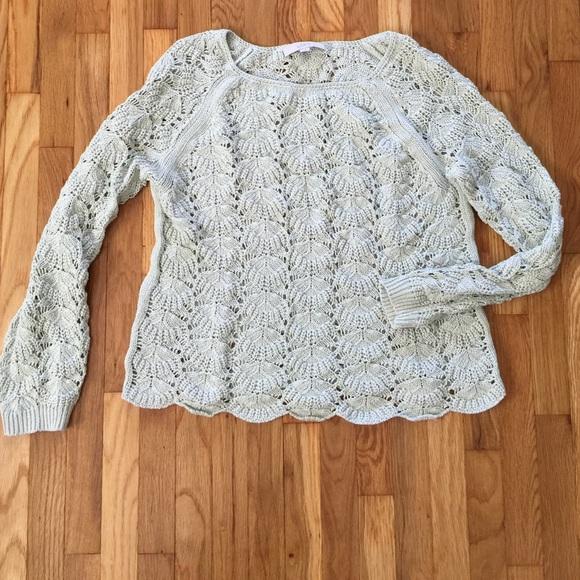 Loft Sweaters Loose Knit Scalloped Hem Crocheted Sweater Poshmark