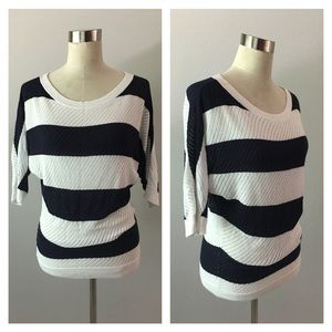 Express Striped Navy White Sweater