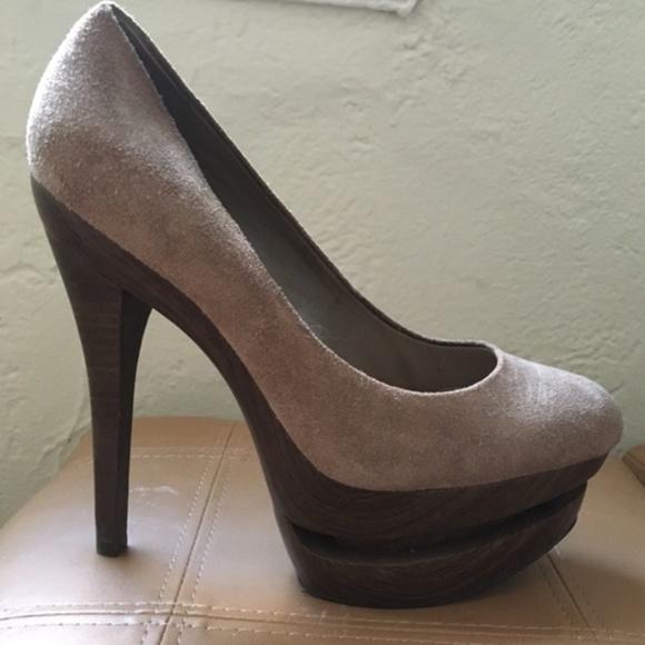f40b464442c Jessica Simpson Shoes - Taupe suede wood platform Jessica Simpson heels