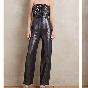 Anthropologie Pants - Anthropologie Metallic Linen Strapless Jumpsuit