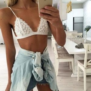 Dainty Lace Sheer Floral White Bralette Top