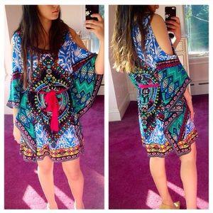❣ONLY ONE❣ Multicolor Cold Shoulder Tie Dress