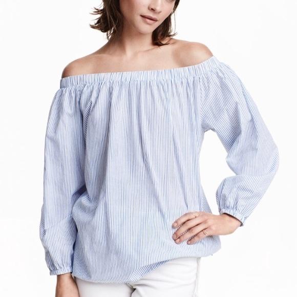 92f1c4a72c1a30 H M Tops - H M Pinstripe Cotton off the shoulder Top ...