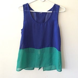Blue and green color block top