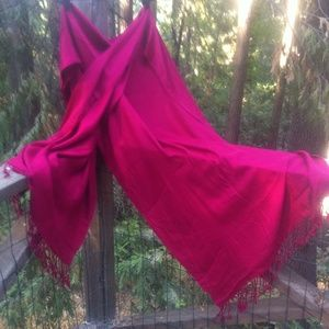 Accessories - Pashmer look fuchsia shawl,H P