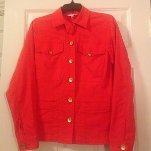 CAbi red ruffled jacket