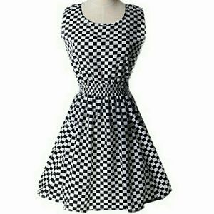 Liva Girl  Dresses & Skirts - Black & White Checked Summer Dress