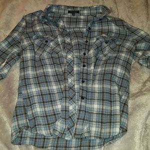 Blue and brown flannel/plaid shirt
