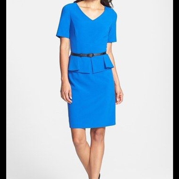 57cbf17edff Tahari royal blue peplum sheath dress 2P
