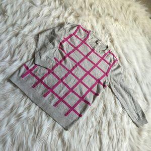 J. Crew Factory Sweaters - J Crew hot pink windowpane sweater