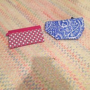 Beautiful blue and pink makeup bags