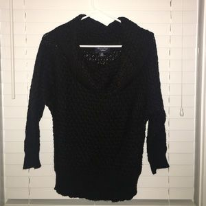 Black knitted cow neck sweater