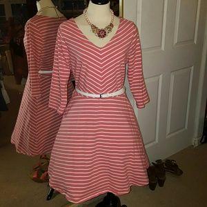 Old  Navy Dress Coral & White Stripes