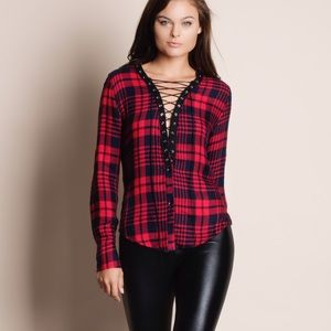 Bare Anthology Tops - Lace Up Long Sleeve Plaid Top