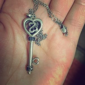 Open heart with key necklace