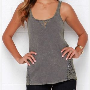 Tops - Others Follow Green Lace Tank Size M