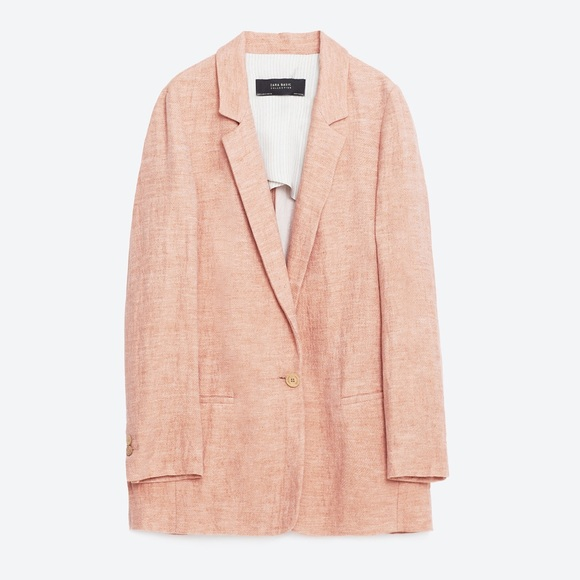 5% off Zara Jackets & Blazers - ZARA Pink Linen Blazer Sz S from ...