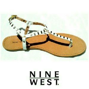 NINE WEST WHITE  STRAP SANDALS