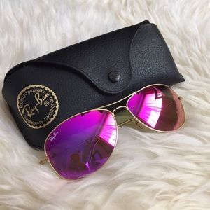Ray-Ban Accessories - Ray-Ban Pink Mirrored Shrunken Aviator Sunglasses
