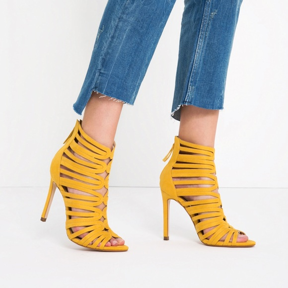 62af182070c Zara Caged-style yellow heels