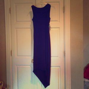 Purple sleeveless a-line dress