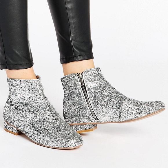 Asos Bling Boots Ankle 6 ShoesSilver Glitter Poshmark Us Uk4 tQdhCxBsr
