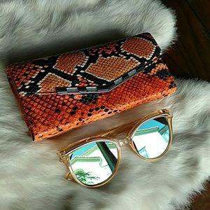 Orange Cateye Mirror Sunglasses