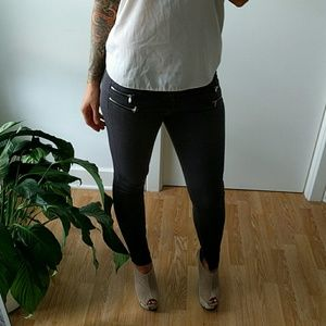 Gray zara skinny zipper pants (ankle)