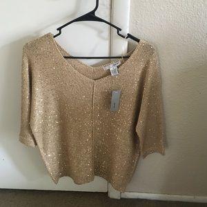 Sweaters - Gold Half Sleeve Sweater