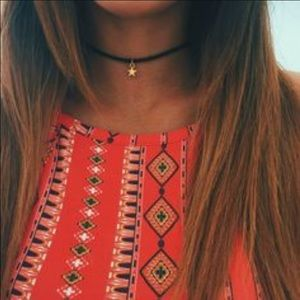 Jewelry - NWT    Ultra Thin Delicate Black Choker with Star