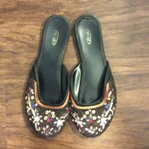 Rave Shoes - Rave beaded black slippers.