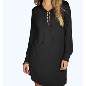 Nasty Gal Dresses & Skirts - ✨SALE✨NOIR LONG SLEEVE LACE UP SHIFT DRESS