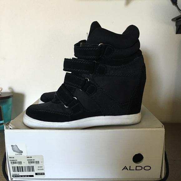 Aldo Shoes | Black Wedge Sneakers