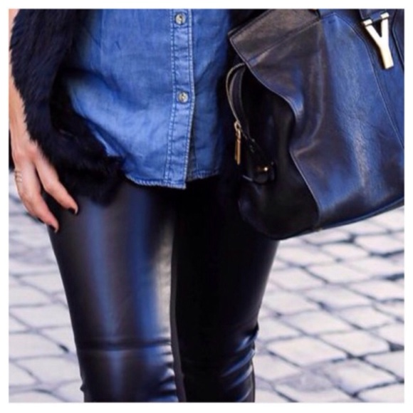 61bd9e0d8e0fff H&M Pants | Hm Black Faux Leather Skinny | Poshmark