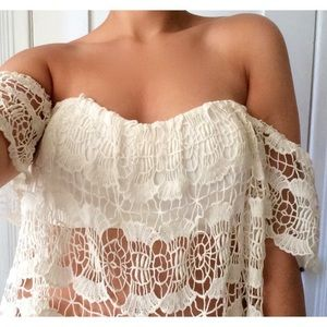 Tops - Off-shoulder Crochet Crop Top