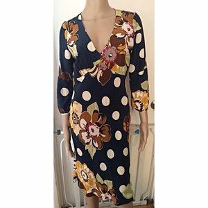 EUC Boden Circles Floral Print V-Neck Dress