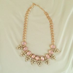 Gold pink and turquoise bib necklace