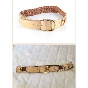 Linea Pelle Accessories - Linea Pelle Gold Leather Braided Belt