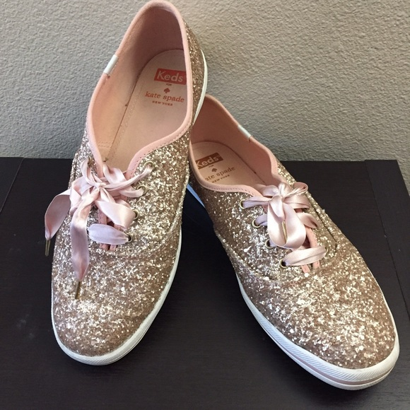 61025b6245f kate spade Shoes - Rose gold glitter Keds