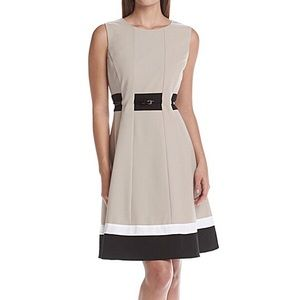 Calvin Klein Tan/Black/White Dress