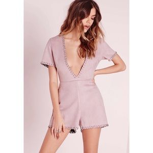 Missguided Pants - NWT Missguided Lilac Faux Suede Playsuit