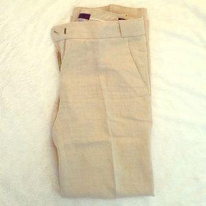 J. Crew linen cafe trousers in cream/wheat linen