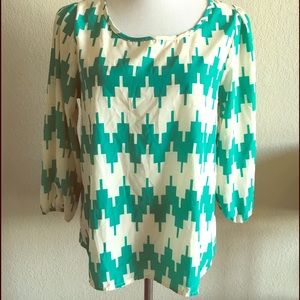 Francesca's Alya Blouse Top Cream and Teal Chevron