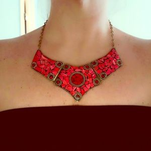Jewelry - Red and Gold Statement Necklace