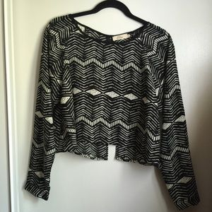 Black and White Cropped Boxy Top